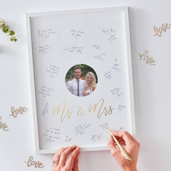 Bilde av GJESTEBOK - Ramme - Mr. & Mrs. - Gold Wedding