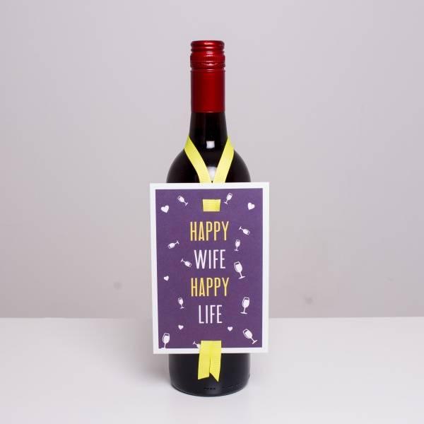 Bilde av VINKORT - Happy wife Happy life