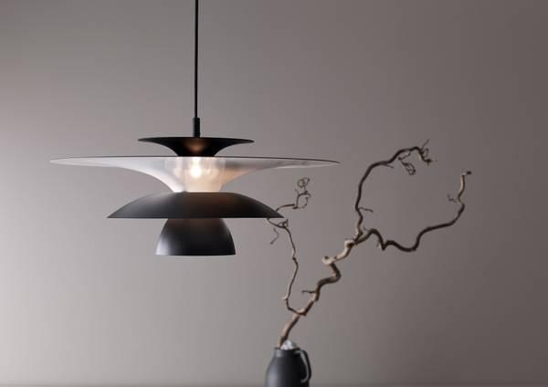 Bilde av TAKLAMPE - Picasso - Matt Svart - Ø38 cm. - Belid