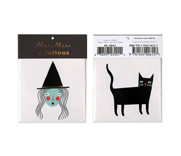 Bilde av TATOVERING - Halloween - Heks og Katt - Meri Meri