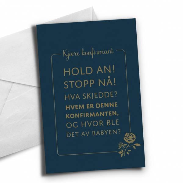 Bilde av KORT TIL KONFIRMANTEN - Hold an, Stopp nå - Blå