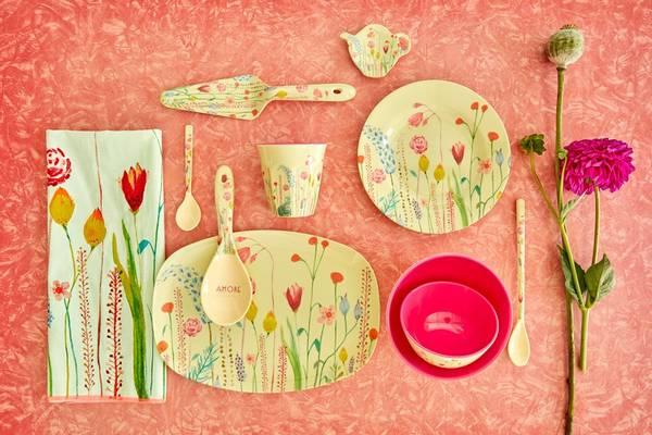 Bilde av LITEN REKTANGULÆR ASJETT - Summer Flowers Prints - Rice