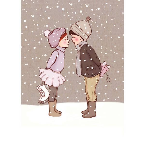 Bilde av KORT - Winter Kiss - Belle & Bo