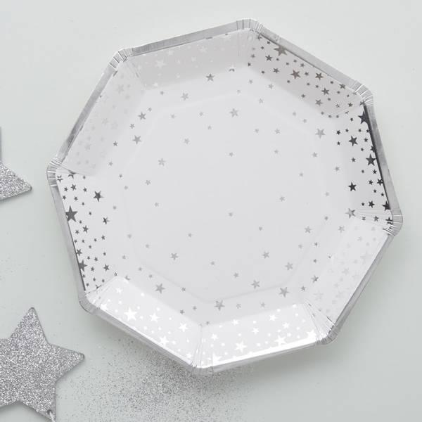 Bilde av PAPPASJETTER - Sølv Stjerner - Metallic Star