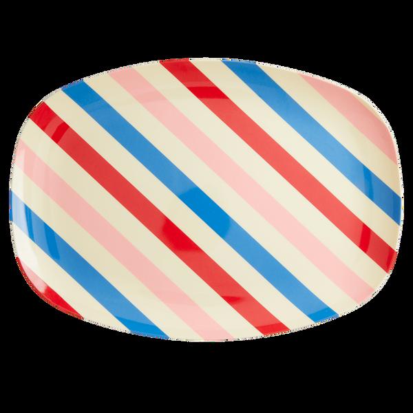 Bilde av REKTANGULÆR TALLERKEN - Candy Stripes - Rice