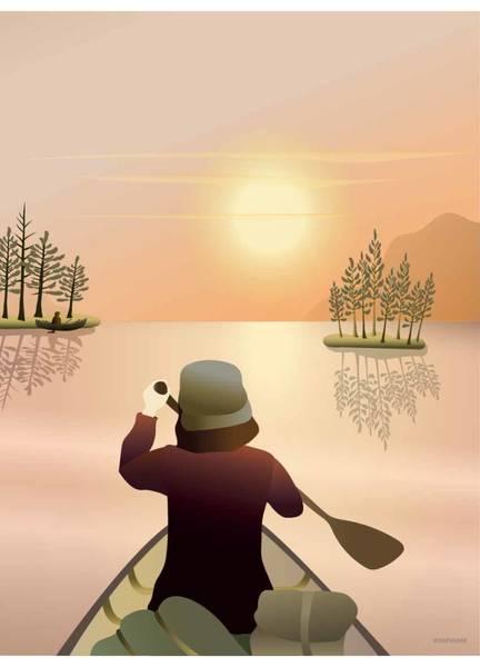Bilde av PLAKAT - Canoeing On The Lake - Vissevasse