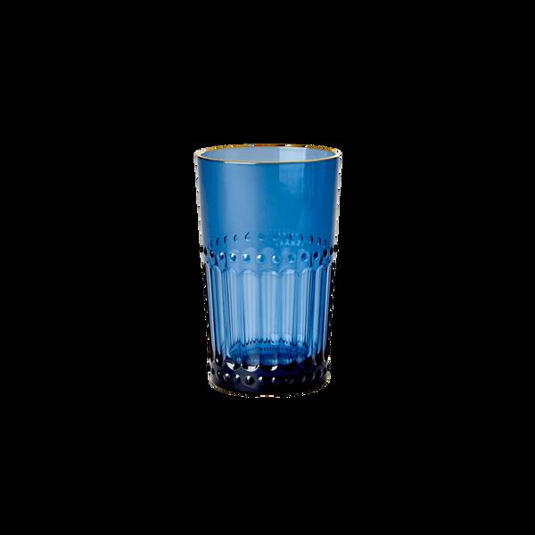 Bilde av AKRYLGLASS - Medium - Mørkeblå / Gullkant - Rice