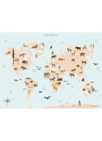 Bilde av PLAKAT - World Map Animal - Vissevasse