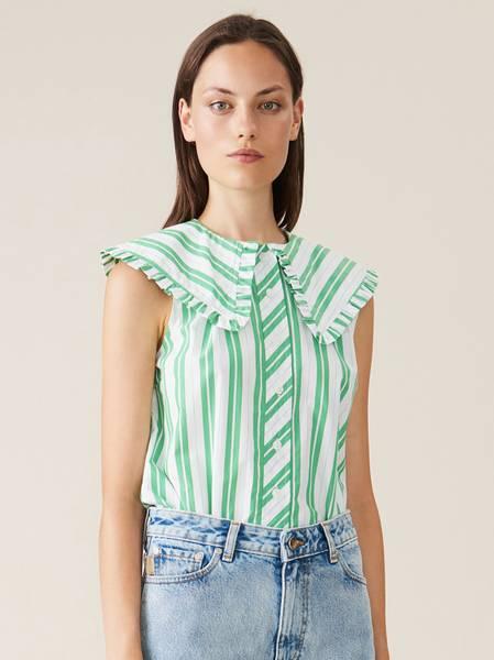 Bilde av Ganni F5739 Stripe Cotton Top