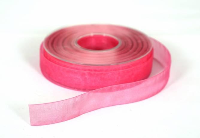 Bilde av Organzabånd, mørk rosa, 25 mm