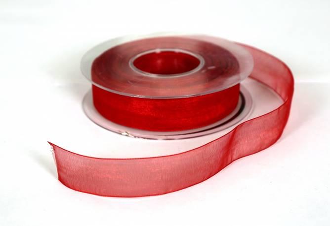 Bilde av Organzabånd, rødt, 25 mm