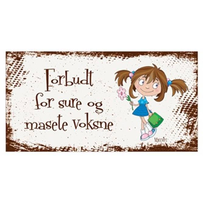 Bilde av Metallskilt, Forbudt for voksne (jente)