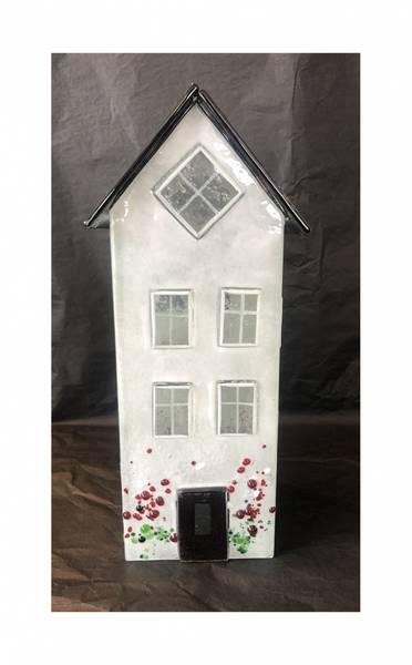 Bilde av Glass hus hvit 26 cm