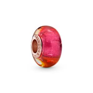 Bilde av Pandora iridescent pink, yellow & orange Murano
