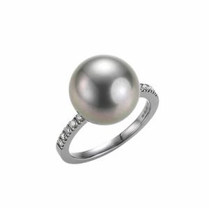 Bilde av Hvittgull ring med tahitiperle og diamanter