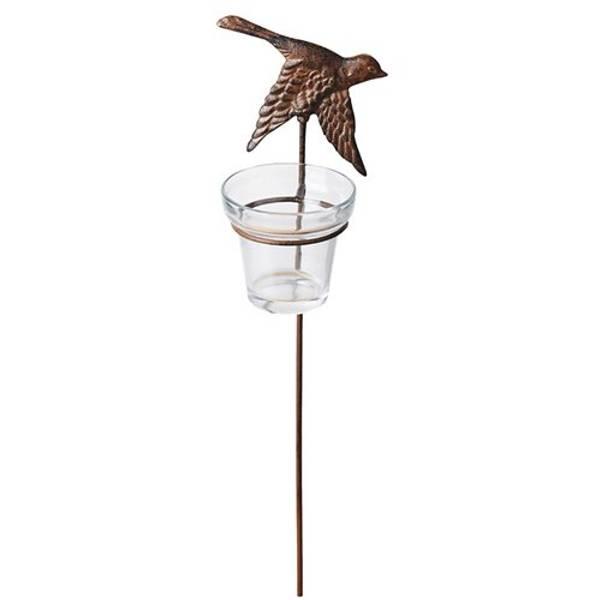 Telysholder i støpejern m/glass - flyvende fugl 1