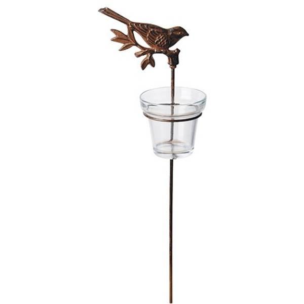 Telysholder i støpejern m/glass - sittende fugl 2