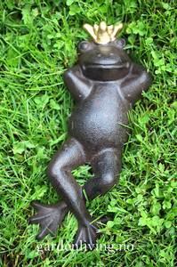 Bilde av Hagepynt - frosk med gullkrone, fornøyd
