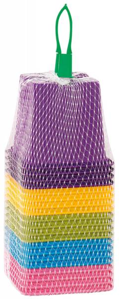 Plastpotte firkantet i fem farger 8 cm, 20 stk