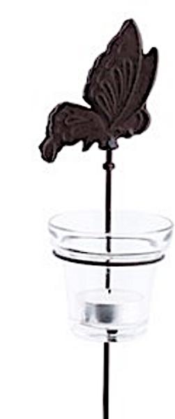 Telysholder i støpejern m/glass - Sommerfugl