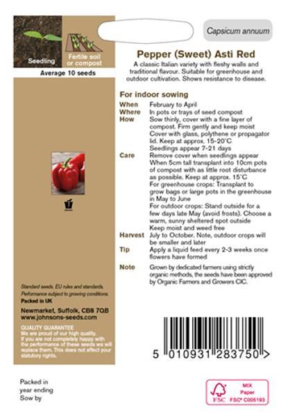 Paprika 'Asti Red' - Organic