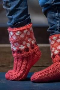 """Bilde av 2021-4B """"OPPFINNER""""-sokker brettekant rosa."""