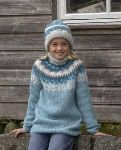 """Bilde av 2027-1f """"Nova""""-genser og lue. VIKING GARN"""