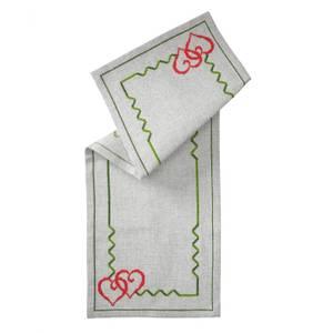 Bilde av Juleduk m/hjerter og grønn bord 26x71 cm