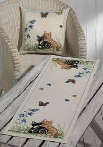 Bilde av Løper m/katter og sommerfugler 35x95 cm