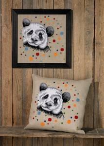 Bilde av Pute/maleri med panda 60x60 cm