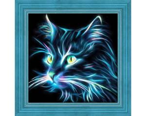 Bilde av Blå neon katt 25x25cm