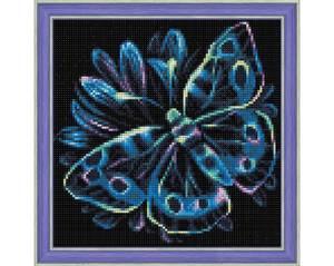 Bilde av Blå neon sommerfugl 25x25cm