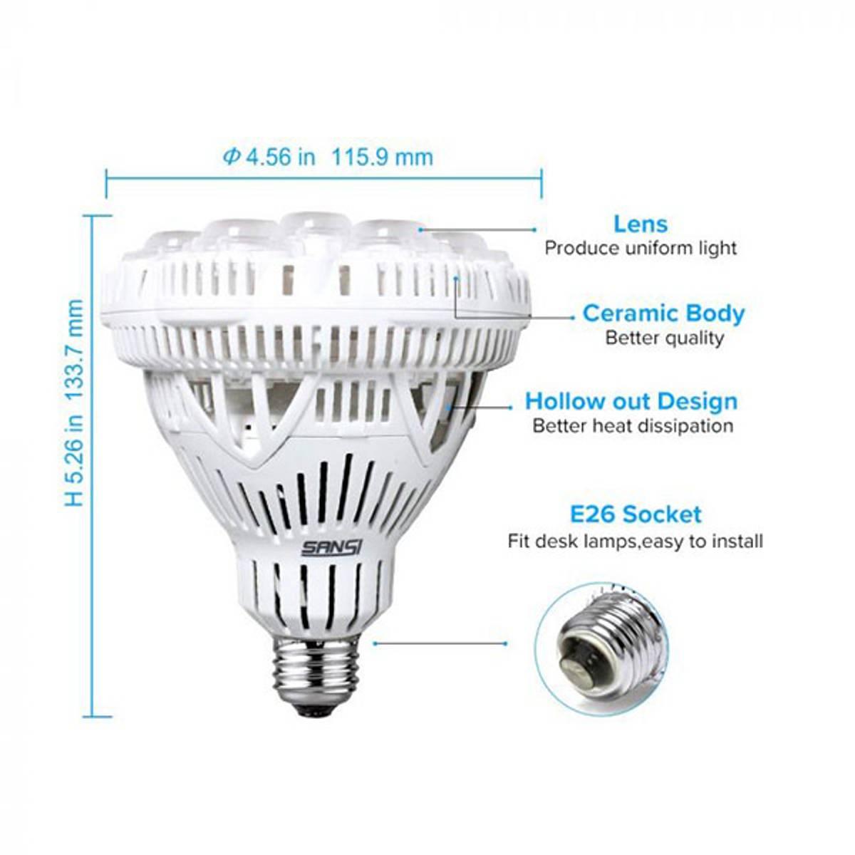 Sansi LED vekstlampe 36 W E27