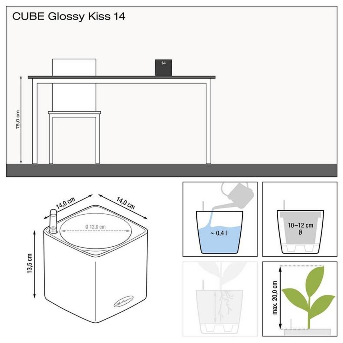 Cube Glossy 14 'Cherry Pie' Høyglans, Lechuza Selvvanningspotte