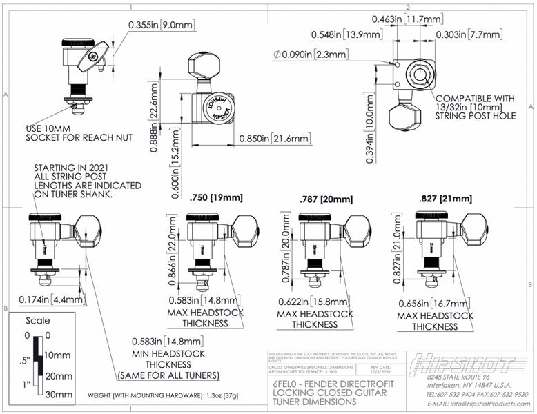 Hipshot Fender Directrofit Locking Staggered - nikkel