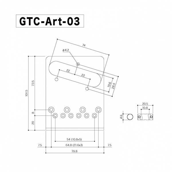Bridge for Fender Telecaster - gravert gull