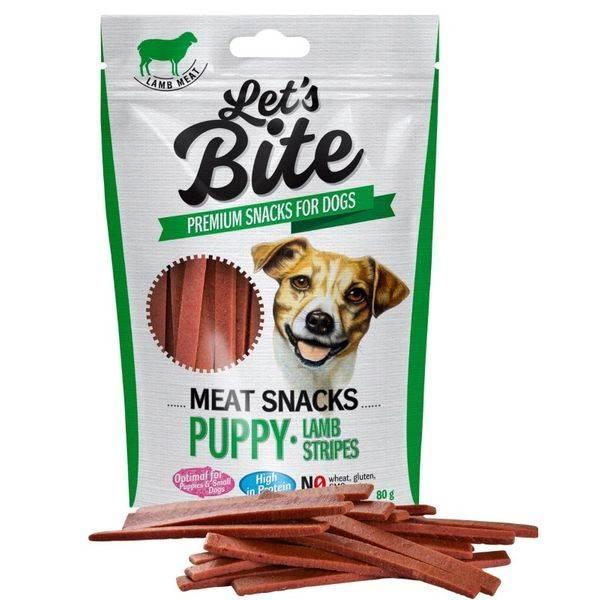 Lets Bite Meat Snacks Puppy Lamb Stripes 80g