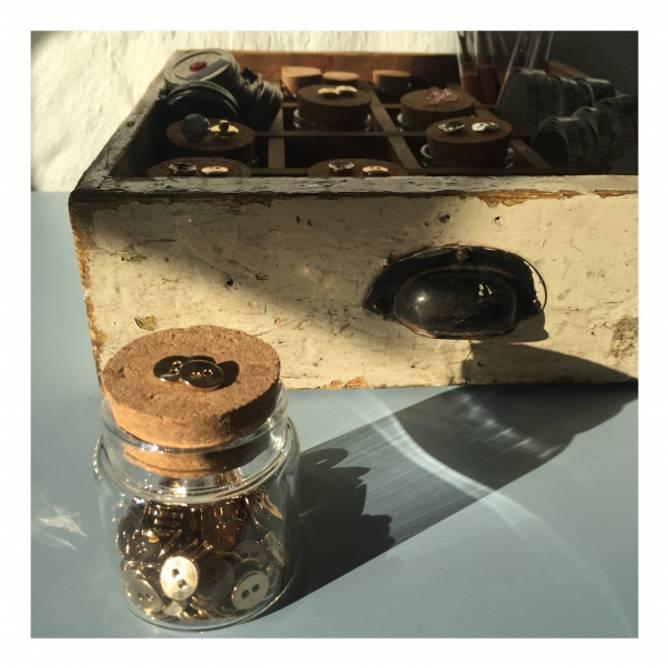 Bilde av Gullknapp metall hamret 10mm