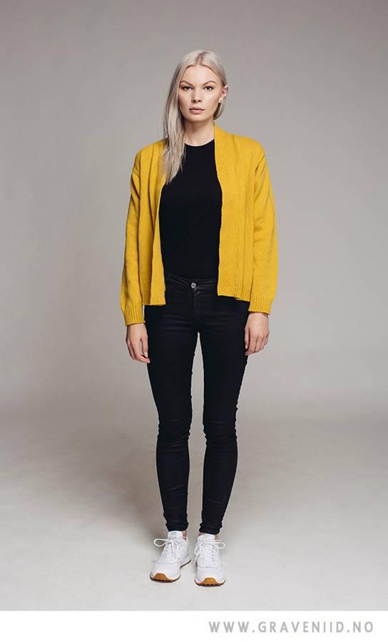 Avvi cardigan, kort modell gul/grå