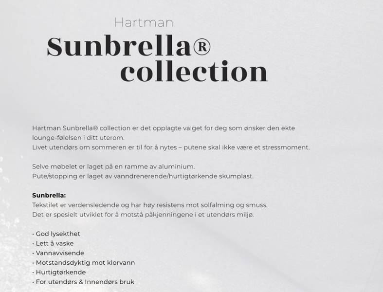 Studio 54 sofagruppe med sunbrella puter
