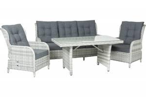 Bilde av Amalie Sofagruppe 3+1+1 grå puter m/bord – Lys