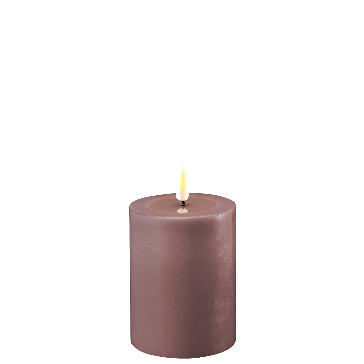 Lys lilla led-kubbelys 7,5x10cm