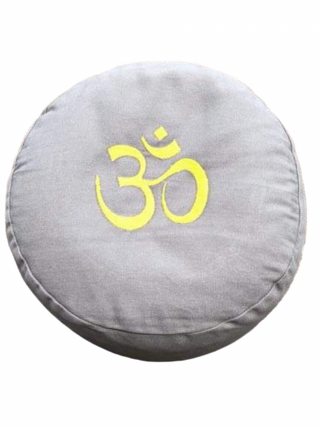 Bilde av Zafu meditasjonspute grå OM