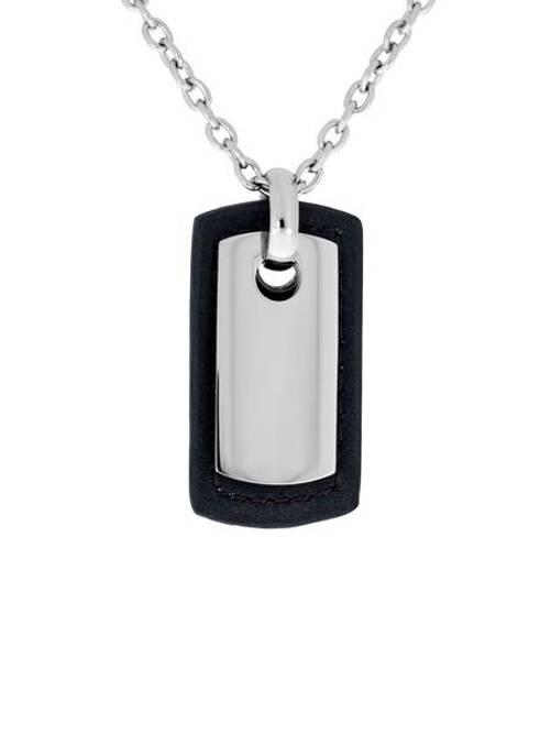 Bilde av Stål smykke med plate, sort