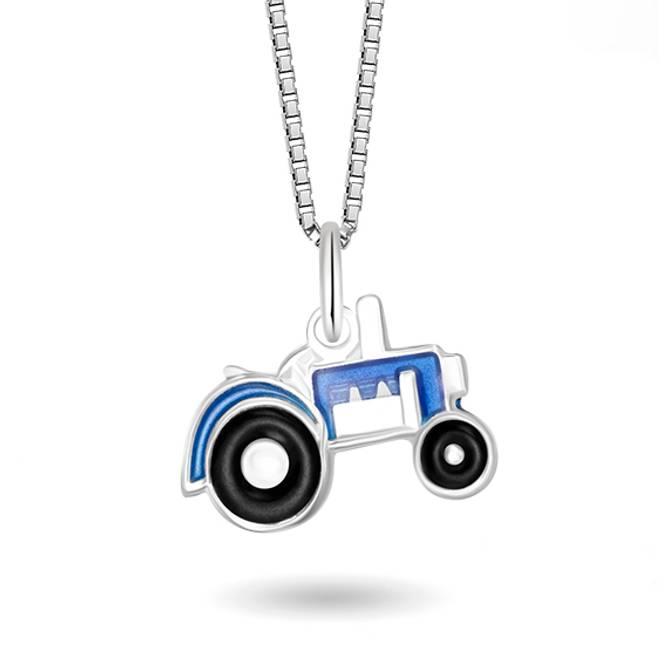 Bilde av Blå traktor smykke