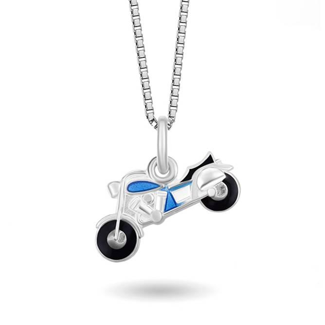 Bilde av Blå motorsykkel smykke