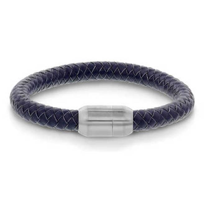 Bilde av Armbånd i stål og lær, blå