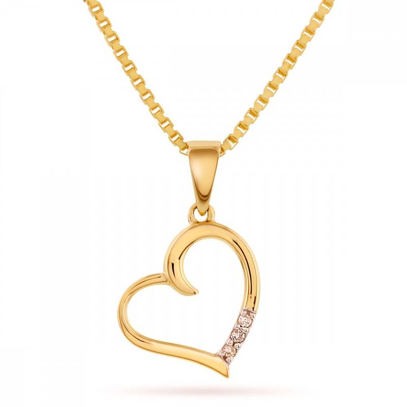 Bilde av Gull anheng, hjerte med diamanter
