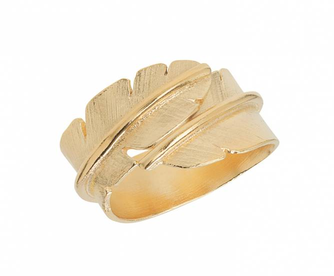Bilde av Feather ring, forgylt medium
