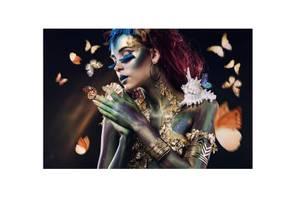 Bilde av Sommerfugl Kvinne - Glass Bilde (90x150)